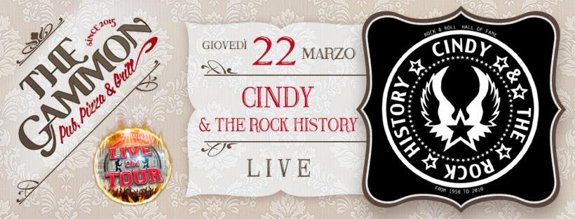 Giovedì 22 Marzo ★ CINDY ★ & the rock history